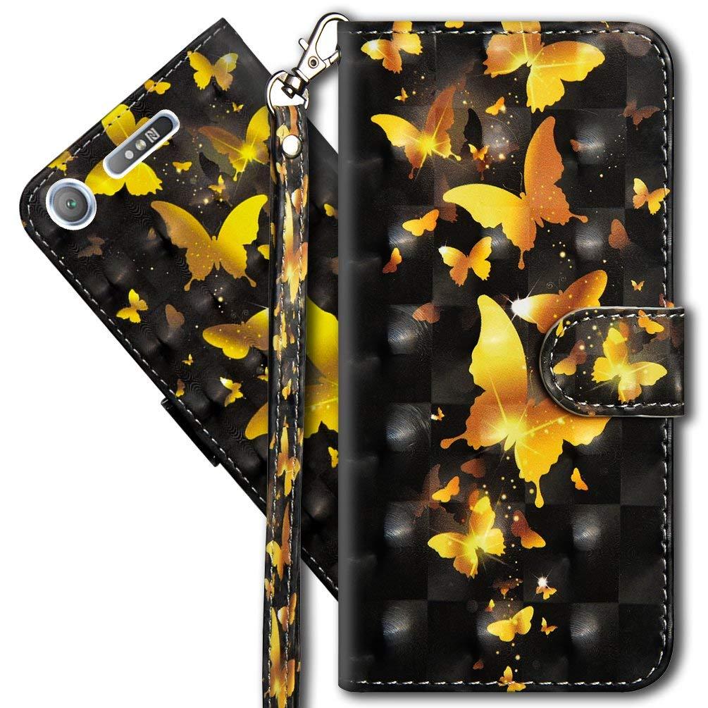3D Brillos Carcasa Libro Flip Case Antigolpes Cartera PU Cuero Funda con Soporte para Sony Xperia XA1 MRSTER Funda para Sony Xperia XA1 YX 3D Butterfly Spring