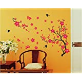 Decals Design StickersKart Wall Stickers Black Branch with Flowers (Multi-Colour)
