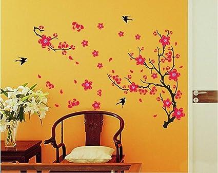 Decals Design Branch with Flowers Wall Sticker (PVC Vinyl, 50 cm x 70 cm)