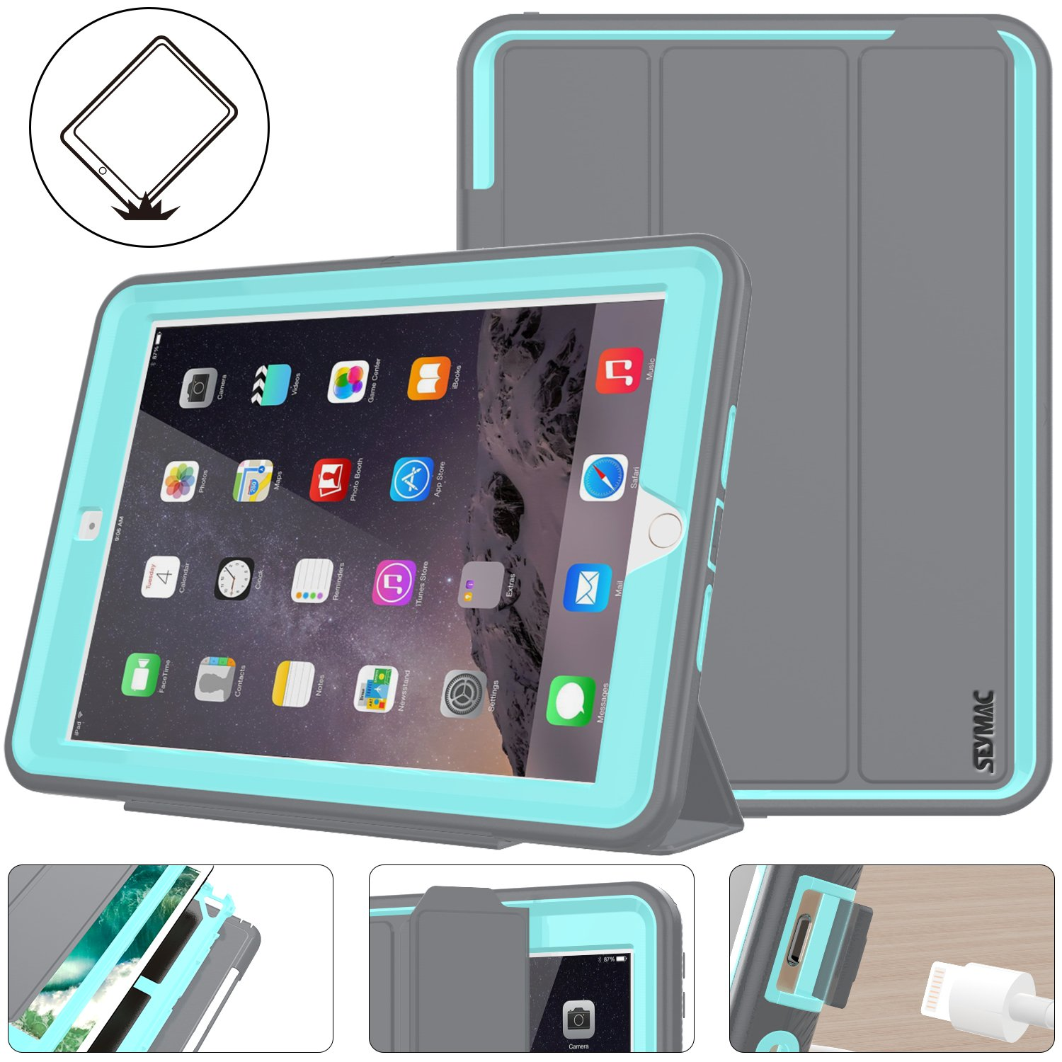 iPad 5th/6th Generation Case, New iPad 9.7 Inch 2017/2018 Case Smart Magnetic Auto Sleep/Wake Cover Hybrid Leather with Stand Feature for Apple New iPad 2017 Release Model (Gray/Skyblue)