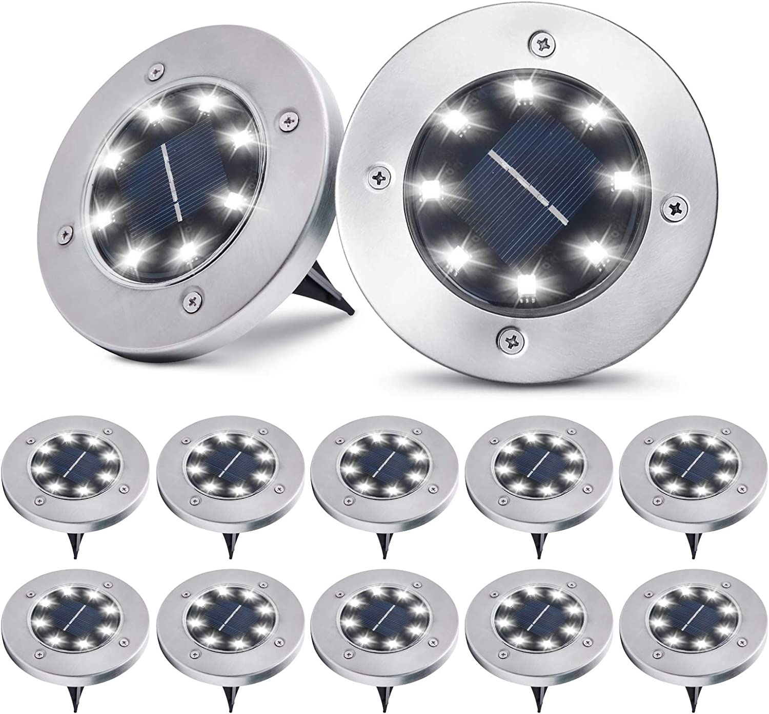 Solar Ground Lights,12 Packs 8 LED Solar Garden Lights Outdoor Waterproof in-Upgraded Outdoor Garden Waterproof Bright in-Ground Lights for Lawn Pathway Yard Driveway(Cold White)