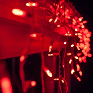 Amazon.com: 70 M5 Red LED Icicle Lights 7.5\' White Wire - Outdoor ...
