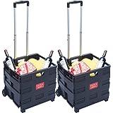 DXP 2x Carretilla de las compras del cajón plegable hasta 35 kg contenedor con ruedas (2) WS-01