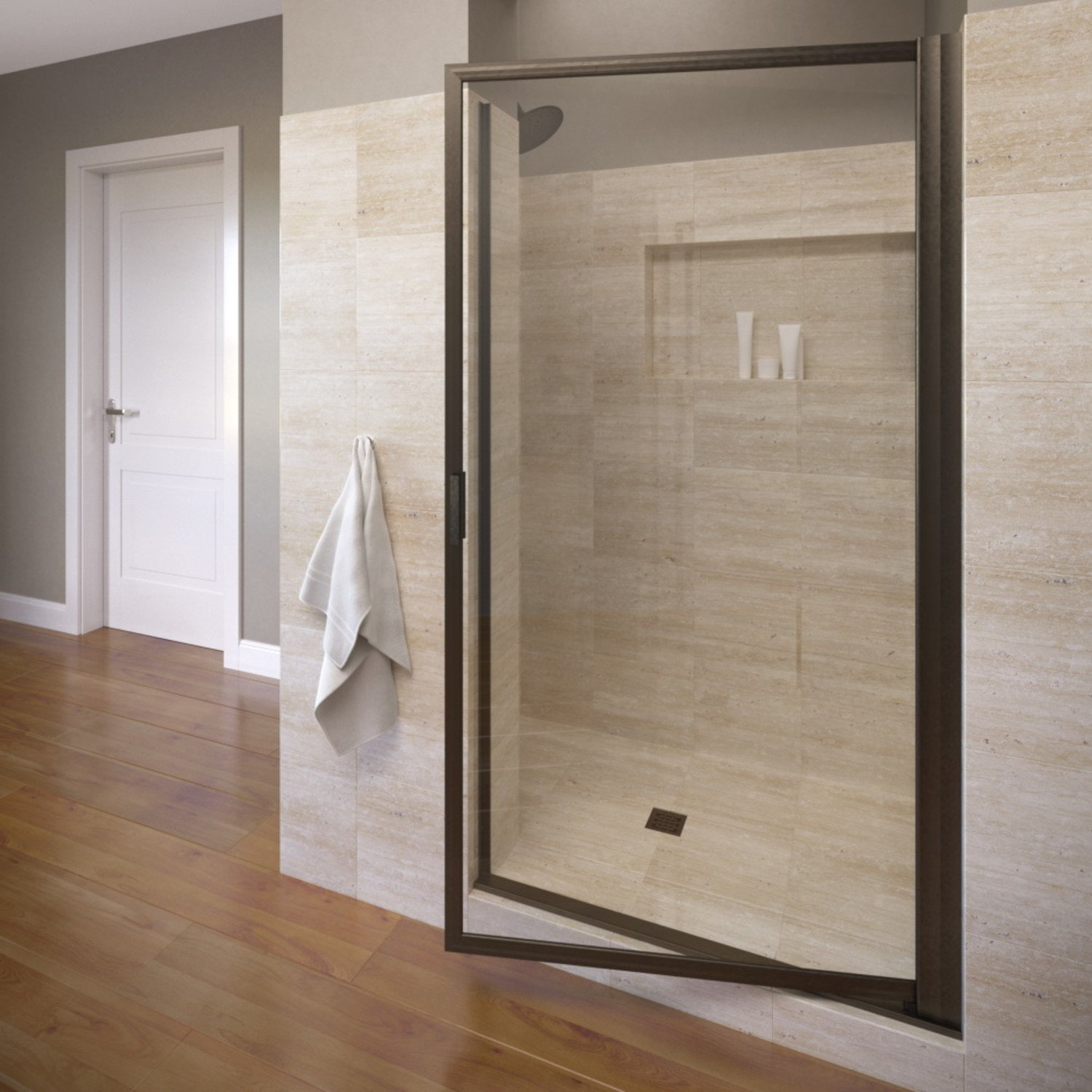 Basco Deluxe 27.25- 29 in. Width, Glass Shower Door, Clear Glass, Oil Rubbed Bronze Finish