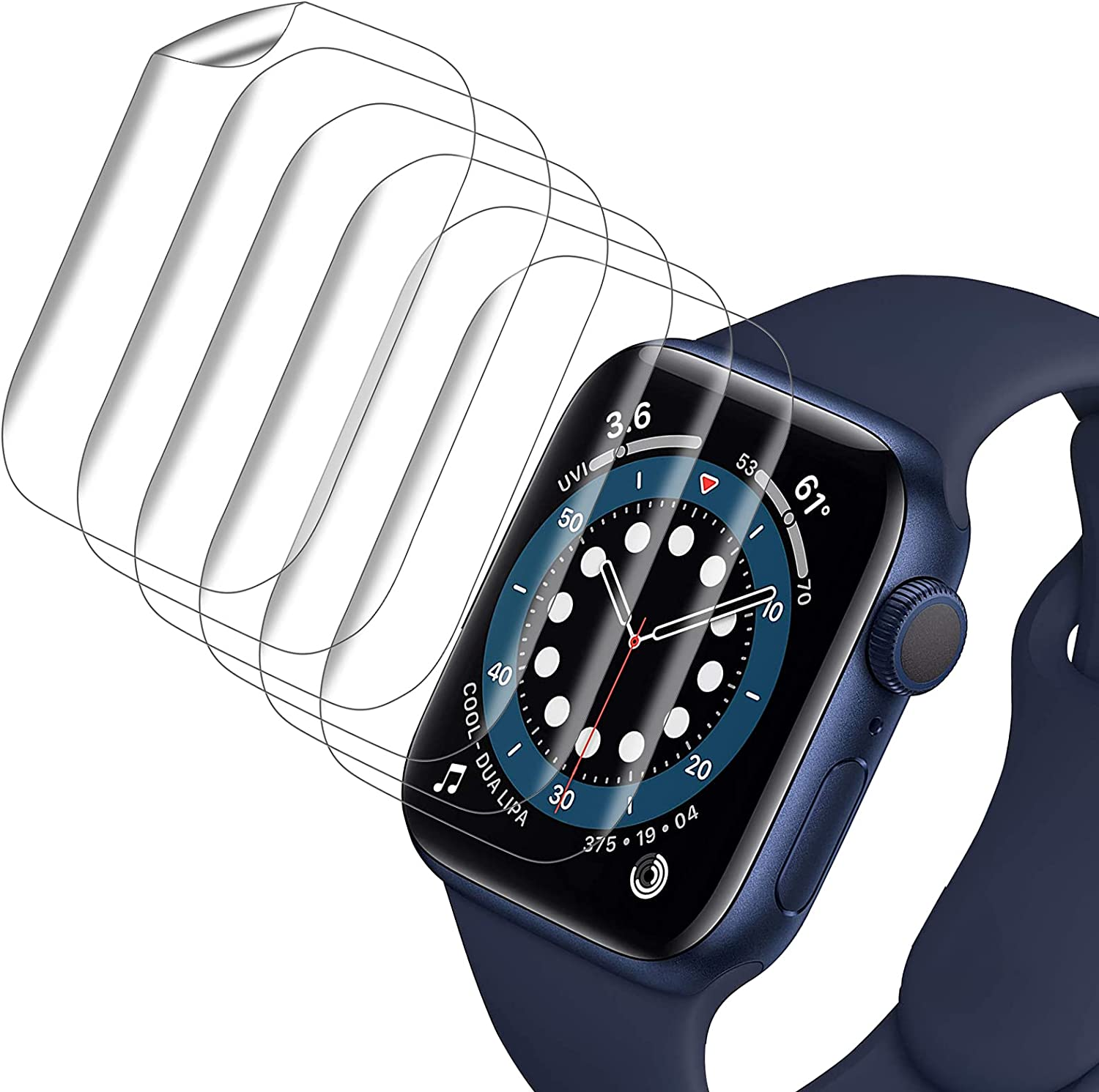 VASG [8-Pack] Screen Protector compatible with Apple Watch Series 6 / SE/Series 5 / Series 4 44mm, Full Cover Flexible Clear Film Compatible with iWatch 44mm [Scratch Resist] [Ultra-Thin]