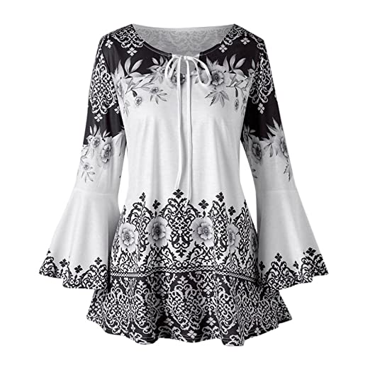 287371ce2f7 ManxiVoo Women's Neckline Rope Casual Print Flare Sleeve Top Loose Blouse  Plus Size Printed Tunic T