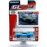 """1970 OLDSMOBILE """"GOODYEAR GRABBER"""" CUTLASS 442 (Custom Blue) * GL Muscle Series 14 * 2015 Greenlight Collectibles Limited Edition 1:64 Scale Die-Cast Vehicle & Collector Trading Card"""