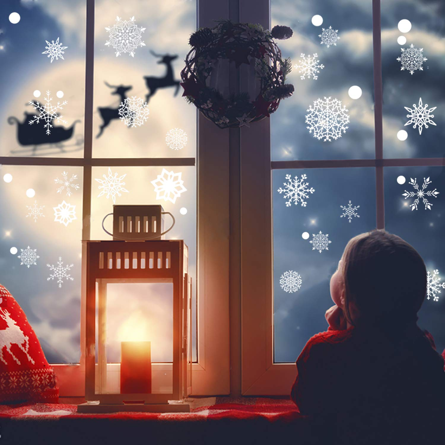 BEYUMI 250+ 8 Sheets Snowflakes Window Clings PVC Winter Decal Stickers for Christmas Decorations Winter Ornaments Xmas Party Stickers