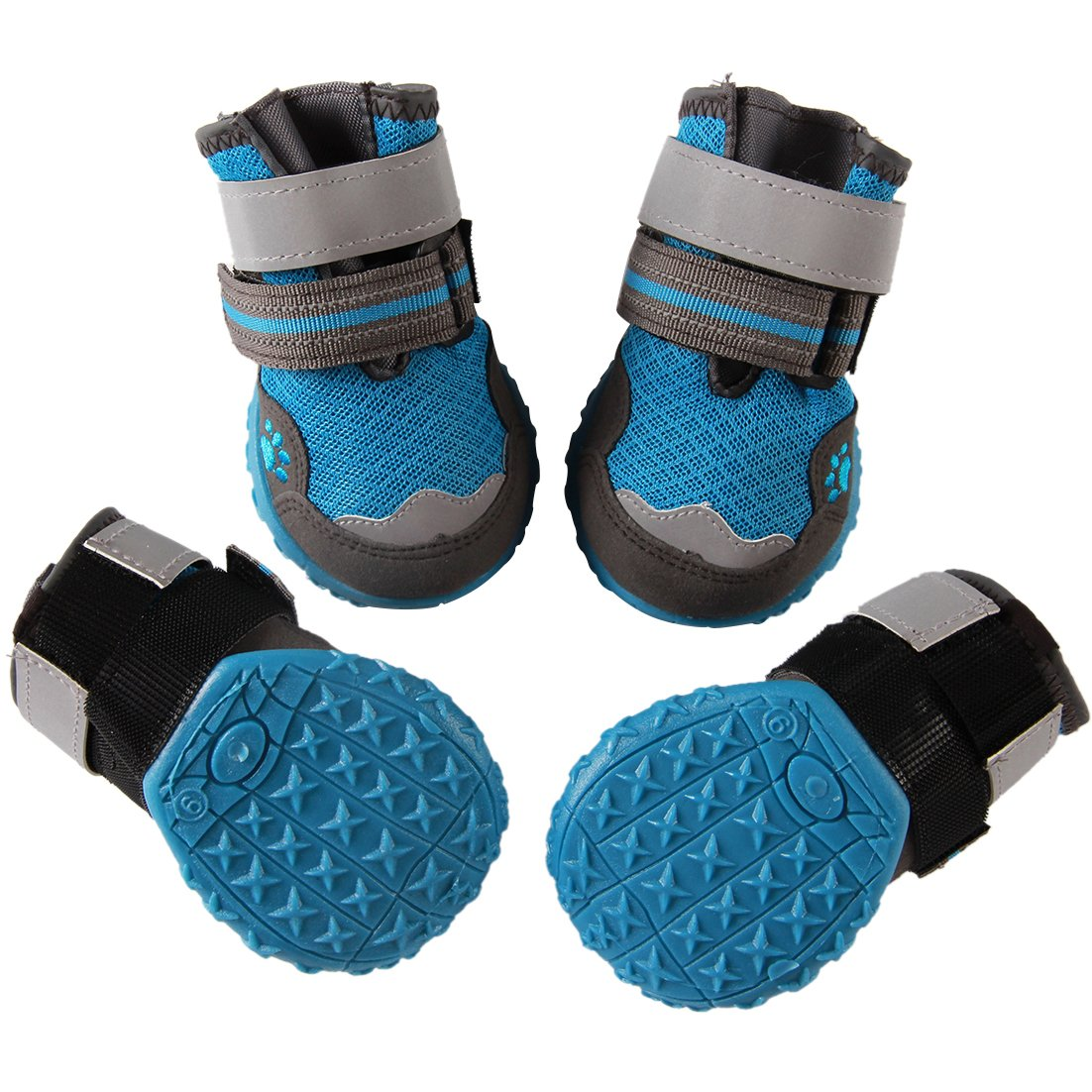vecomfy Breathable Mesh Dog Shoes for Small Dogs,4-Boots Summer Hot Pavement Protect Paws Dog Boots,Waterproof Non-Slip Blue,Size 5 by vecomfy