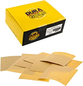 """Dura-Gold - Premium - Variety Pack/Assortment (80,120,150,220,240,320,400,600,800,1000) - 1/4 Sheet Hook & Loop or Clip Sandpaper 5.5"""" x 4.5"""" - for Automotive & Wookworking Palm Sanders - Box of 50"""