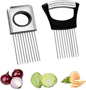 2 PCS Tomato Slicer Food Slicer, Onion Choppers Holder Slicer, 2 Size Vegetable Potato Cutter Assistant Slicers Stainless Steel, Kitchen Tool Cutting Chopper for Meat, Vegetable, Potato, Onion,