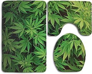HOMESTORES Cannabis Leaf Green Weed Marijuana Bathroom 3-Piece Mat Sets Pedestal Mat+Lid Toilet Cover+Bath Mat Doormat Non-slip Rug