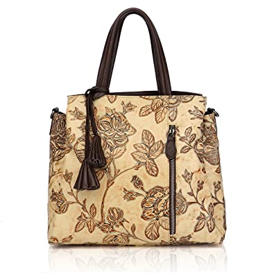 APHISON Designer Unique Embossed Floral Cowhide Leather Tote Style Ladies  Top Handle Bags Handbags (Apricot 037ab6043b893