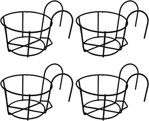 4 Pack Round Hanging Railing Planters, Flower Pot Holders, Metal Pot Plant Basket, Shelf containers for Indoor and Outdoor use (Black)