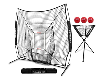 037247785 PowerNet DLX Combo 6 Piece Set for Baseball Softball | 7x7 Practice Net  Bundle w/