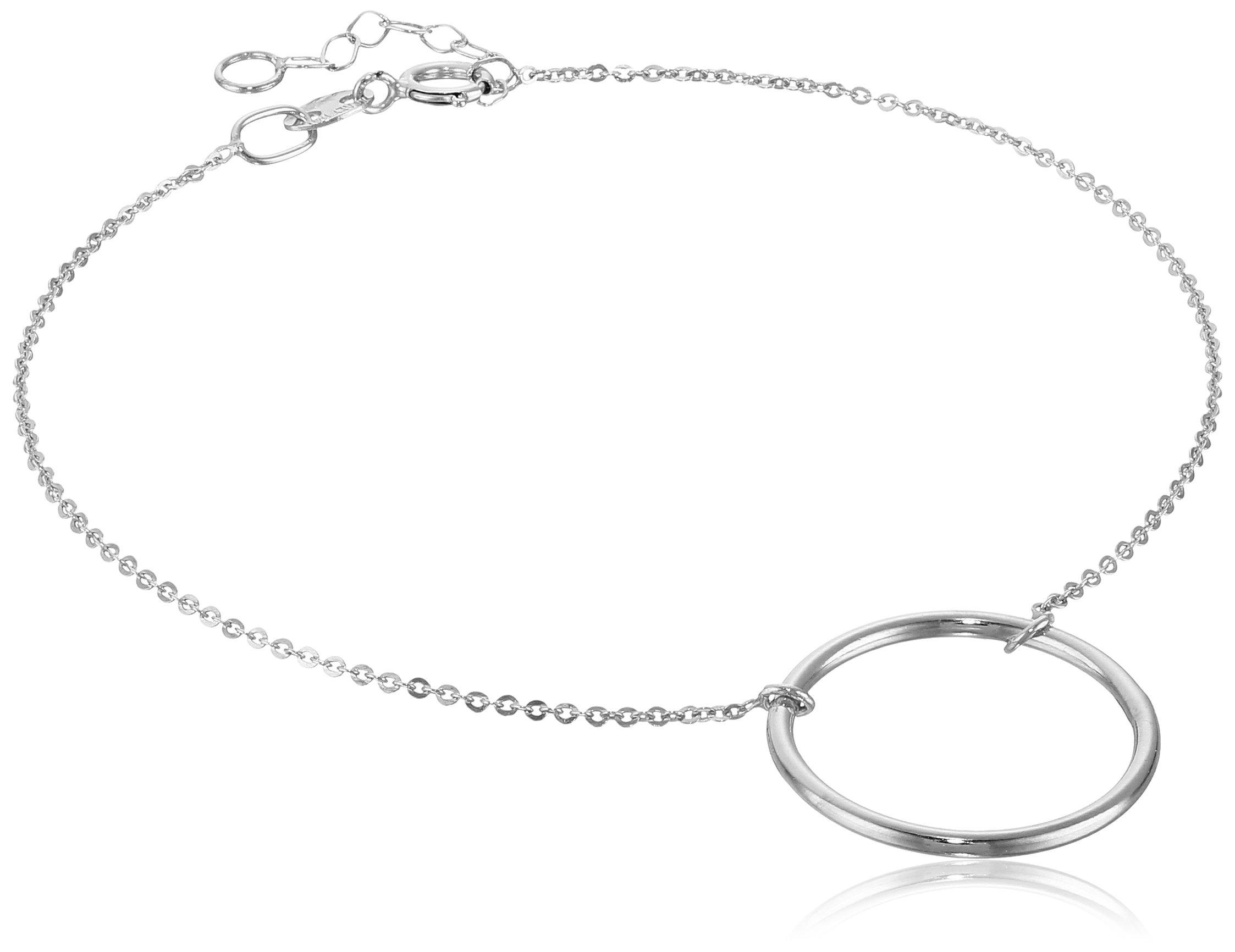 14k Italian White Gold Circle Adjustable Link Bracelet