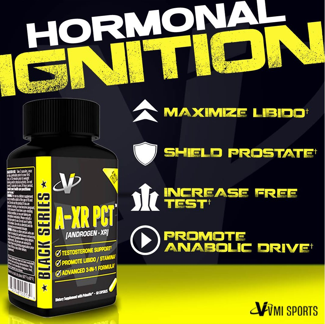 VMI Sports, AXR PCT Testosterone Booster, Full Spectrum Post Cycle Therapy  Boosts Free Testosterone, Inhibits Estrogen Conversion, Increases Libido