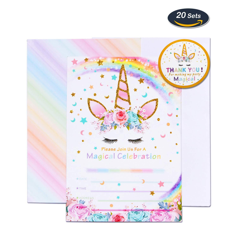 AMZTM Mágico Suministros de Fiesta de Unicornio - 20 Piezas Tarjetas de Invitación con 20 Piezas Sobres y 24 Piezas Thank You Pegatinas para Chicas Fiesta de Cumpleaños Baby Shower (Rainbow)