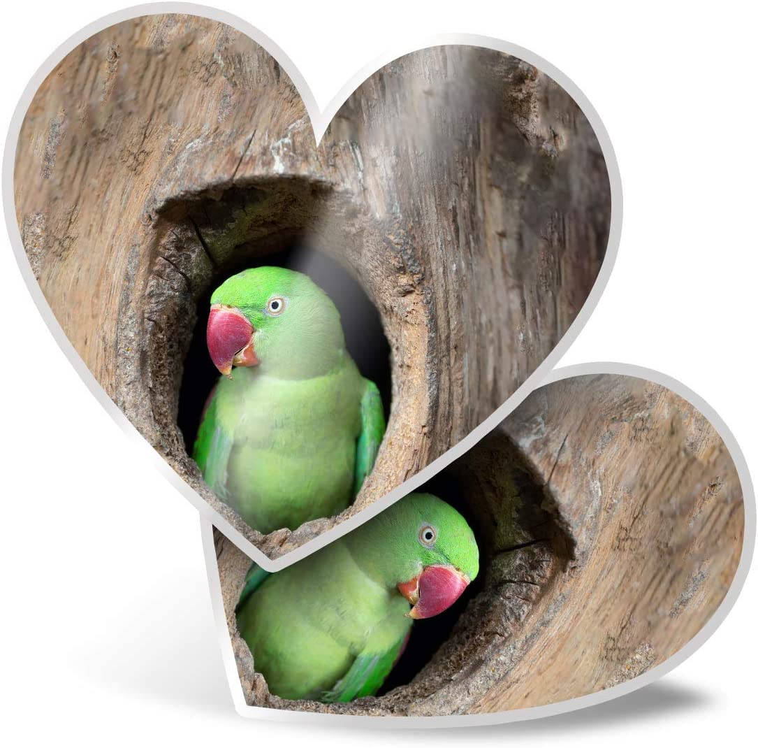 Awesome 2 x Heart Stickers 7.5 cm - Cute Parrot Tree House Parakeet Bird Fun Decals for Laptops,Tablets,Luggage,Scrap Booking,Fridges,Cool Gift #16388