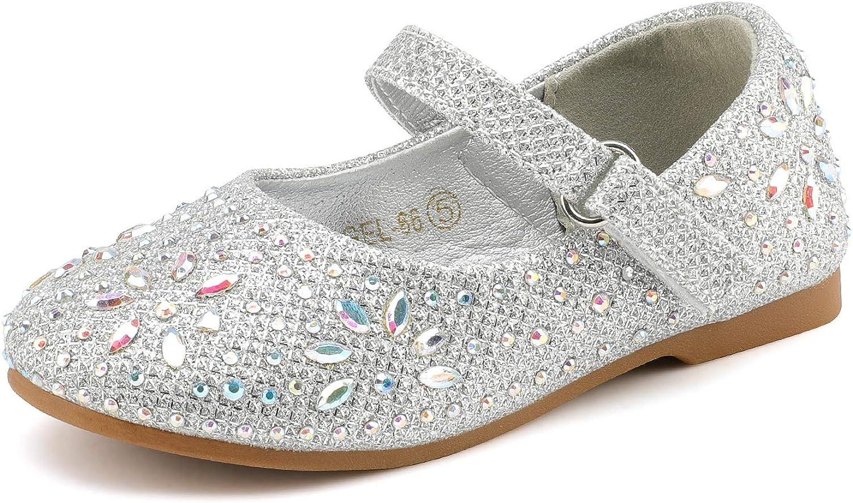 DREAM PAIRS Girls Mary Jane Rhinestone Embelishment Throughout Ballerina Flat Silver Size 9 US Toddler// 8 Child UK ANGEL-66