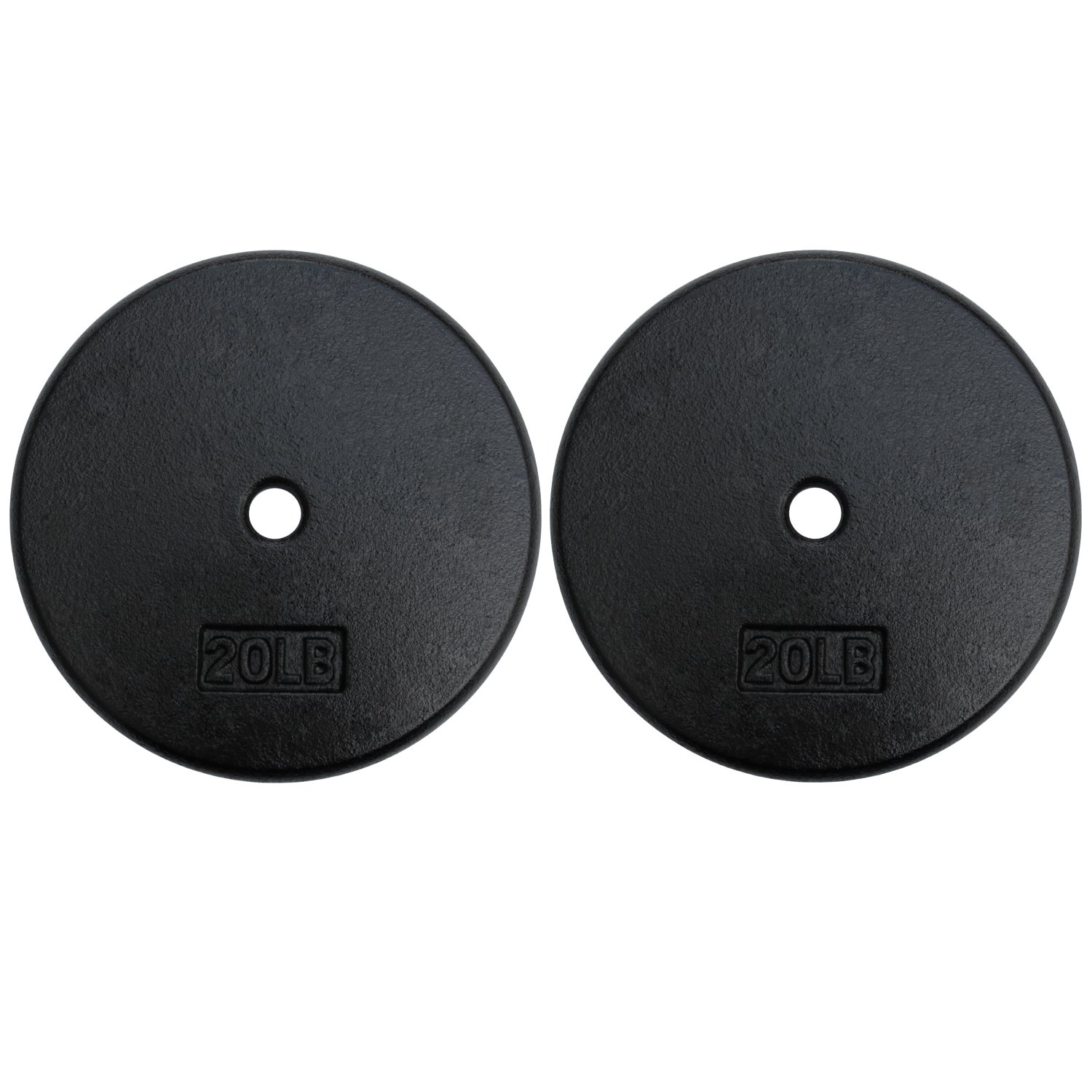 A2ZCARE Standard Cast Iron Weight Plates 1-Inch Center-Hole for Dumbbells, Standard Barbell 10, 15, 20, 25 lbs (20 lbs - Pair)