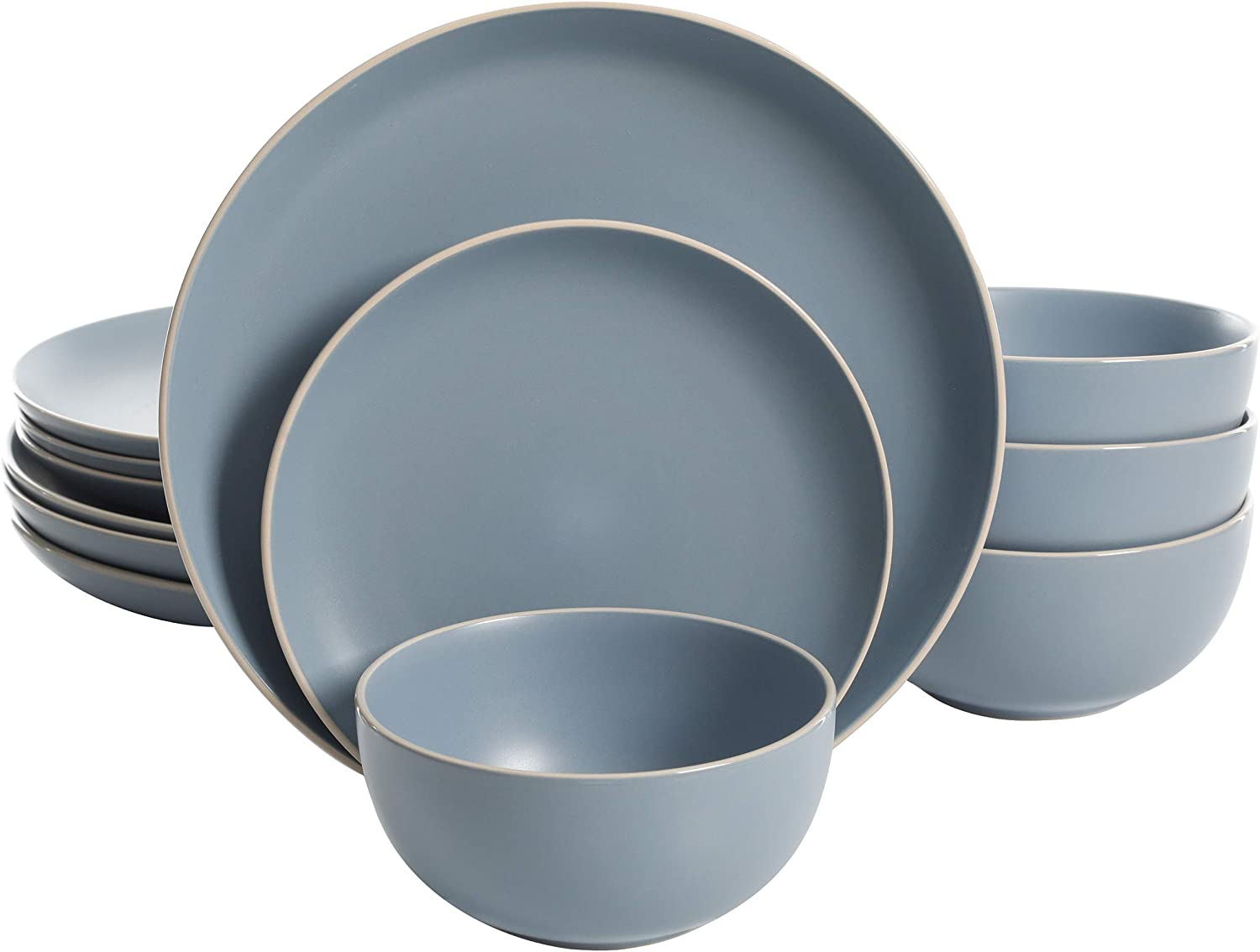 Gibson Home Rockaway Round Stoneware Dinnerware Set, Service for 4 (12pcs), Matte Blue