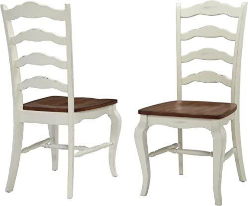 Home Styles French Countryside Oak White Pair of Chairs with Distressed Oak and Rubbed White Finish