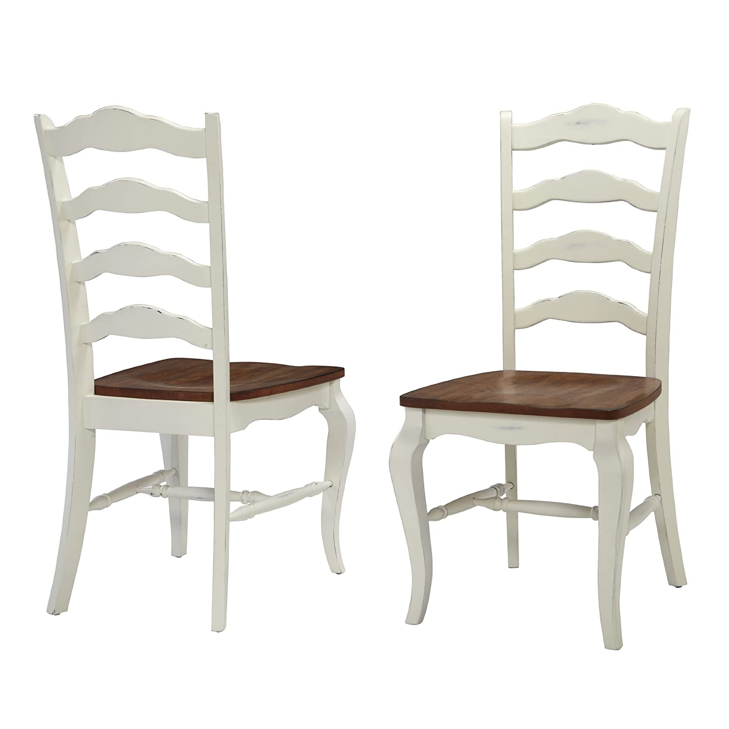 French Countryside Oak White Pair of Chairs by Home Styles