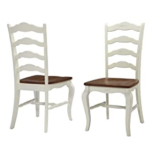 "Home Styles 5518-802 French Countryside Pair of Dining Chairs, 18.75"" W, 21.5"" D, 40"" H, Oak and Rubbed White"
