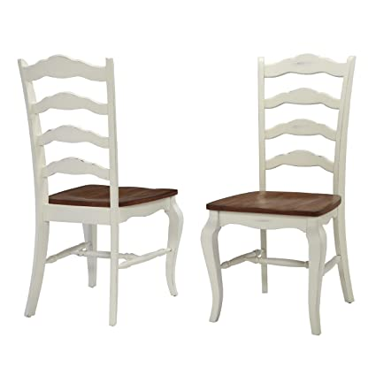 Home Styles 5518 802 The French Countryside Dining Chair Pair, Oak And  Rubbed White