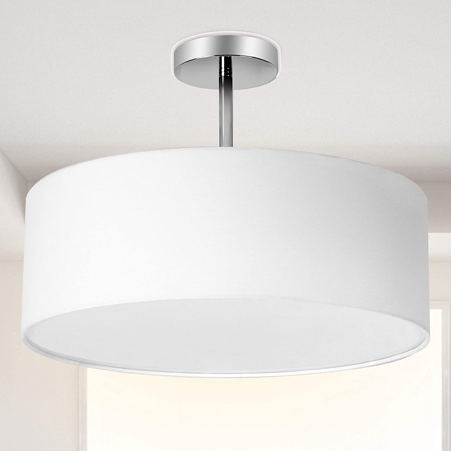 Ceiling Light, Semi-Flush Mount Modern Fabric Pendant Light Shade, Large  White Drum Lampshade, Round Pendant Lamp, Lamps for bedrooms, Flush Chrome