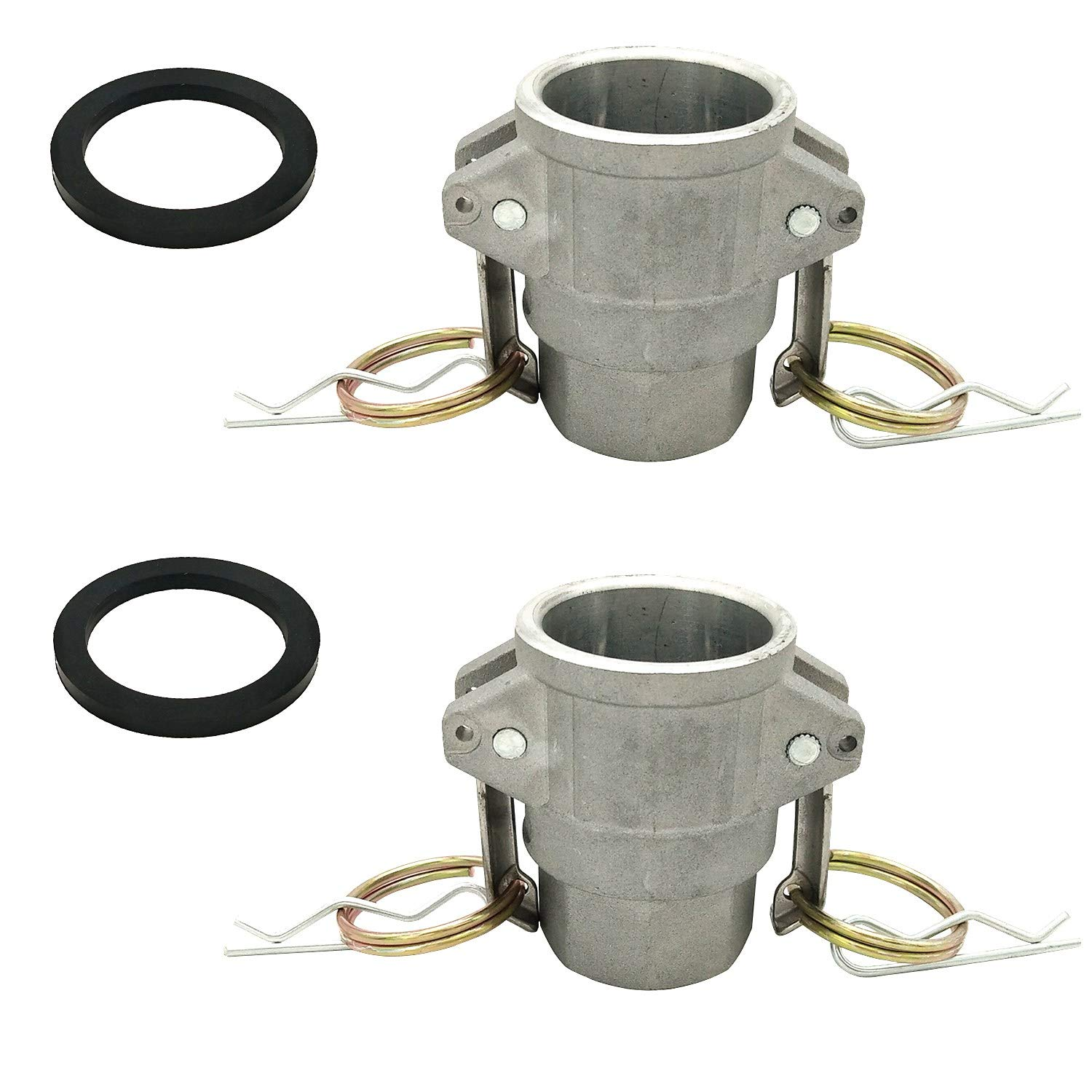 """4/"""" 2PCS Aluminum Type D Cam and Groove Fitting,4 Female Coupler x 4 Female NPT with 2PCS Camlock Gasket Fitting"""