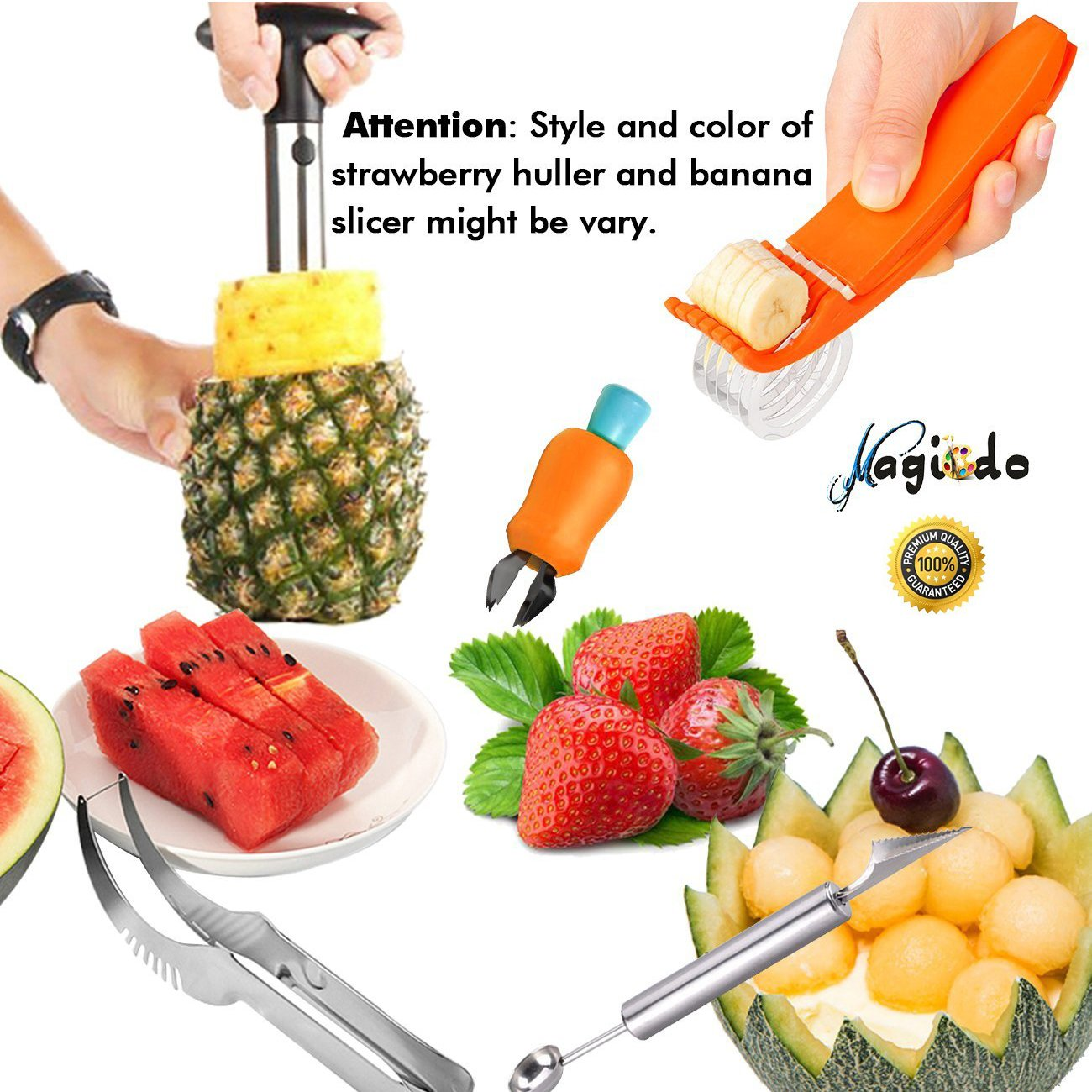 Magicdo 5 in 1 Fruit Slicer Set Iclude Pineapple Corer, Watermelon Slicer, Melon Baller/Scoop, Strawberry Huller and Banana Chopper-Kitchen Cutter Gadgets Kit Magic Decoration Inc