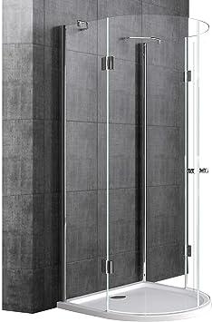 doporro Cabina de ducha semicircular diseño Rav03K 100x100x190cm mampara de cristal de seguridad transparente | Incluye Revestimiento - Nano: Amazon.es: Bricolaje y herramientas