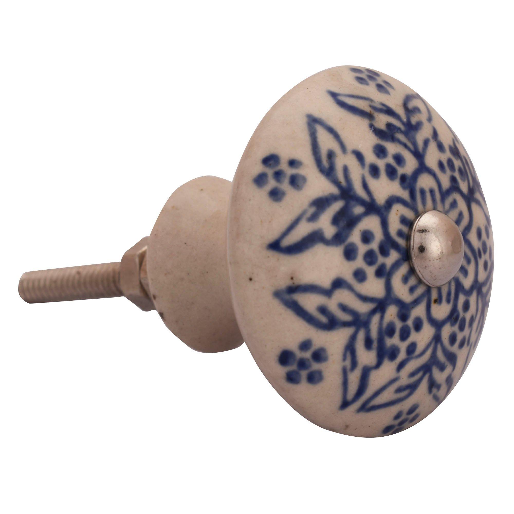 Decorative Ceramic Knob Set Dresser Cupboard Drawer Pulls Off White Knob India