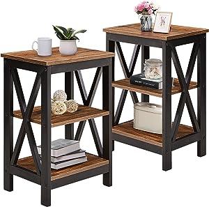 VECELO Versatile Side/End Table with Storage Shelf Nightstands for Living Room,Bedroom Furniture,Brown/Set of 2, Shelves