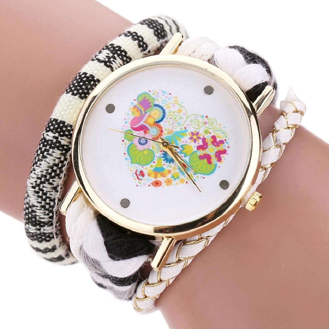 BUYEONLINE Womens Colorful Heart Love Dial Wrist Watch Bracelet Woven Braided Watch White by BUYEONLINE (Image #1)