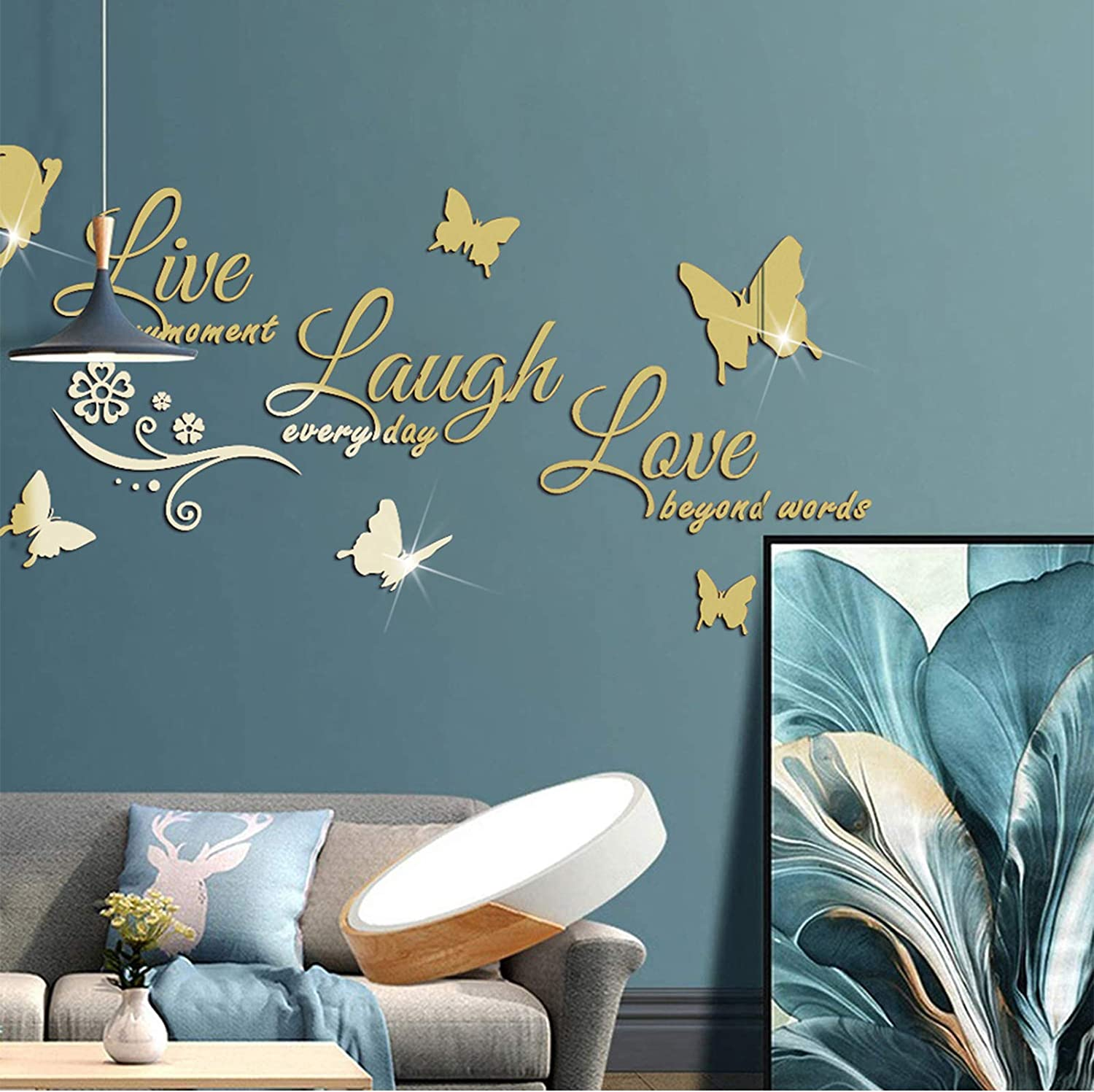 Live Every Moment, Laugh Every Day, Love Beyond Words 3D Acrylic Mirror Wall Stickers, HOLENGS 3D Butterfly Mirror Surface Motivational Letter Wall Decals, DIY Wall Decor for Home Living Room Bedroom