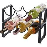 2 Tier Wine Racks Countertop Metal 6 Bottles, Free-Standing Wine Rack Stackable for Home Decor Bar Wine Cellar Basement…