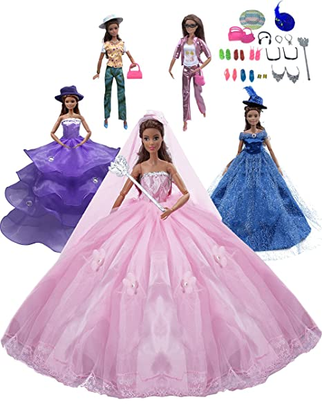 f1f49a94ce4 Tatuer 25pcs Handmade Barbie Doll Clothes and Accessories Set Include-3  Packs Party Gown Outfits