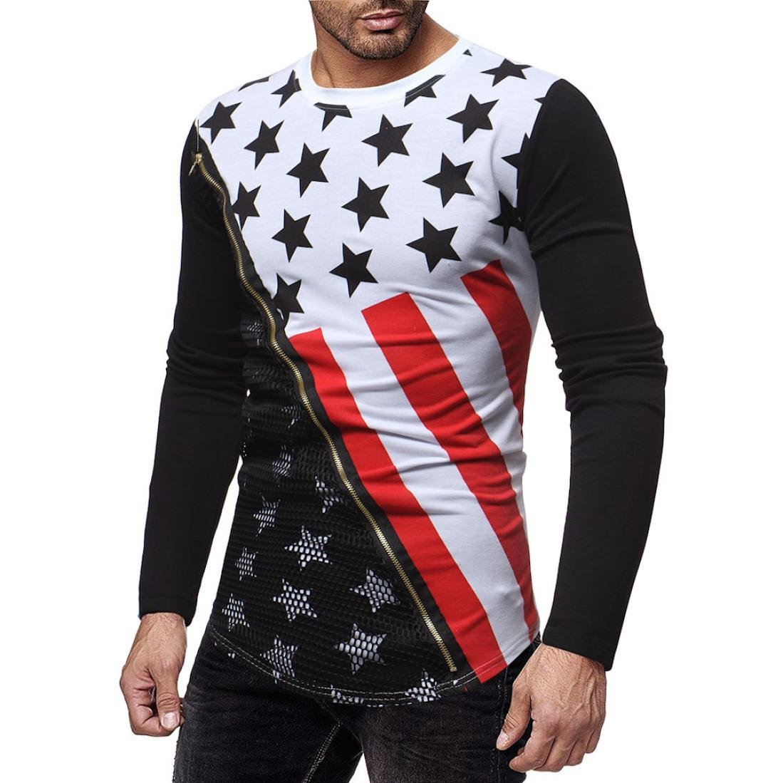Amazon.com: WM & MW Mens Pullover Tops Long Sleeve Fashion Zipper Mesh Patchwork Stars Printed T Shirts Casual Blouse Top: Clothing