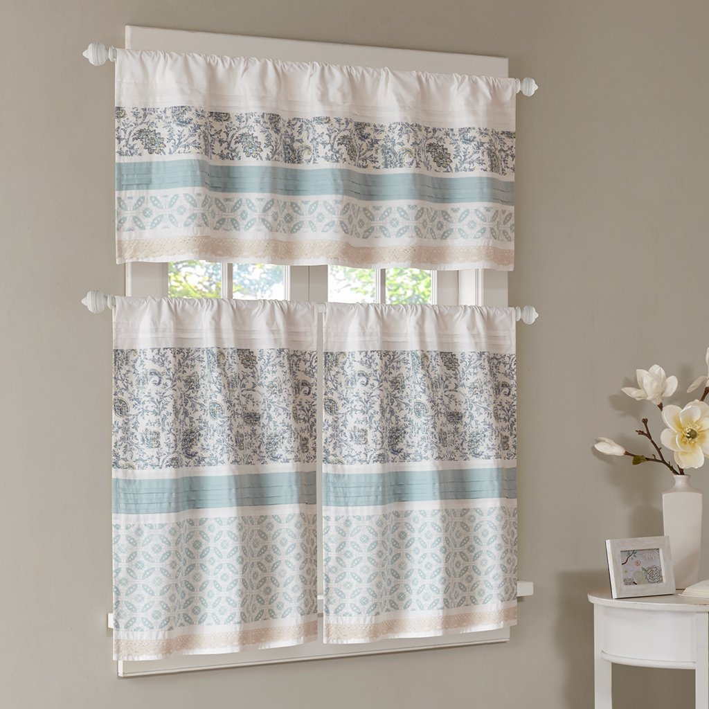 Madison Park Dawn Kitchen Tier Set Printed and Pieced Small Window Curtain with Rod Pocket Finished, 30x36, Blue, 2 by Madison Park