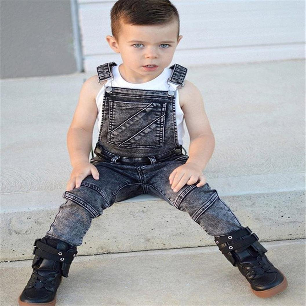 97dc81f3253 Zerototens Kids Jeans for 0-4 Years Old Newborn Toddler Baby Boys Girls  Sleeveless Overalls Backless Rompers Jumpsuit Classic Denim Pants Kids  Dungarees ...