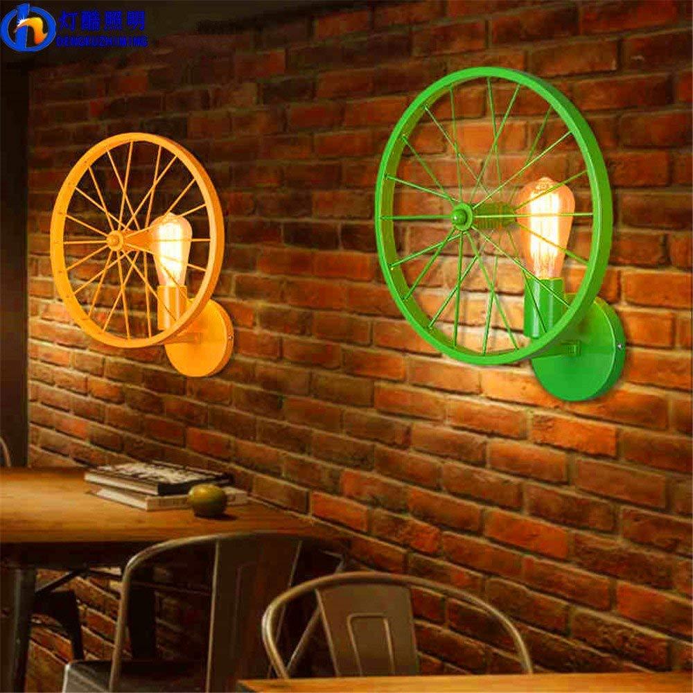 Eeayyygch Wandlampe Kreative Wandlampe Retro Wandlampe Loft Persönlichkeit Wandlampe Restaurant Bar Bar Eisenindustrie Wind Lampe Lampe Rad HellRosa (Farbe   Grün)