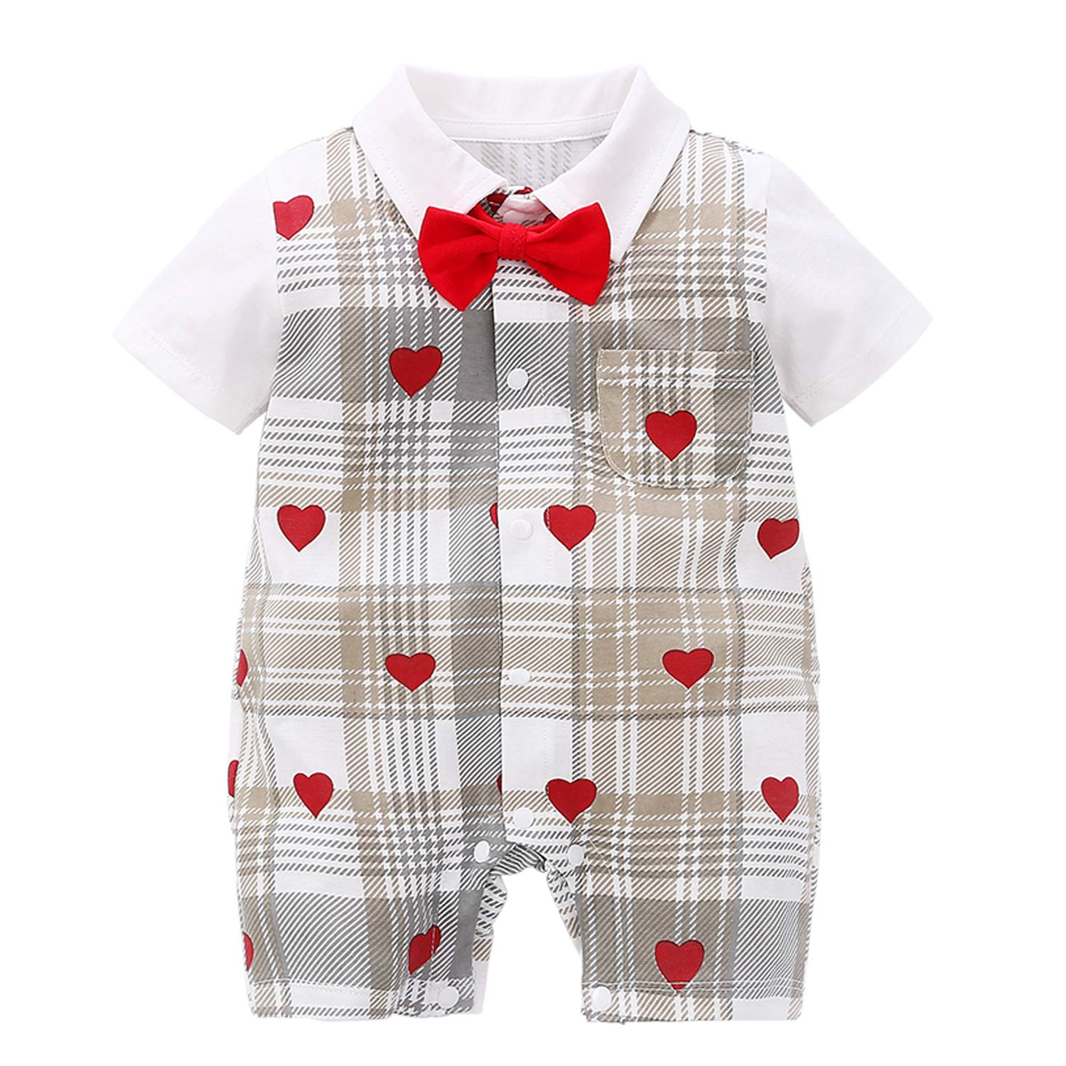 YFYBaby Baby Boy Gentleman Outfit Formal Short Sleeve Bowtie Suit Onesie Jumpsuit Overall Romper