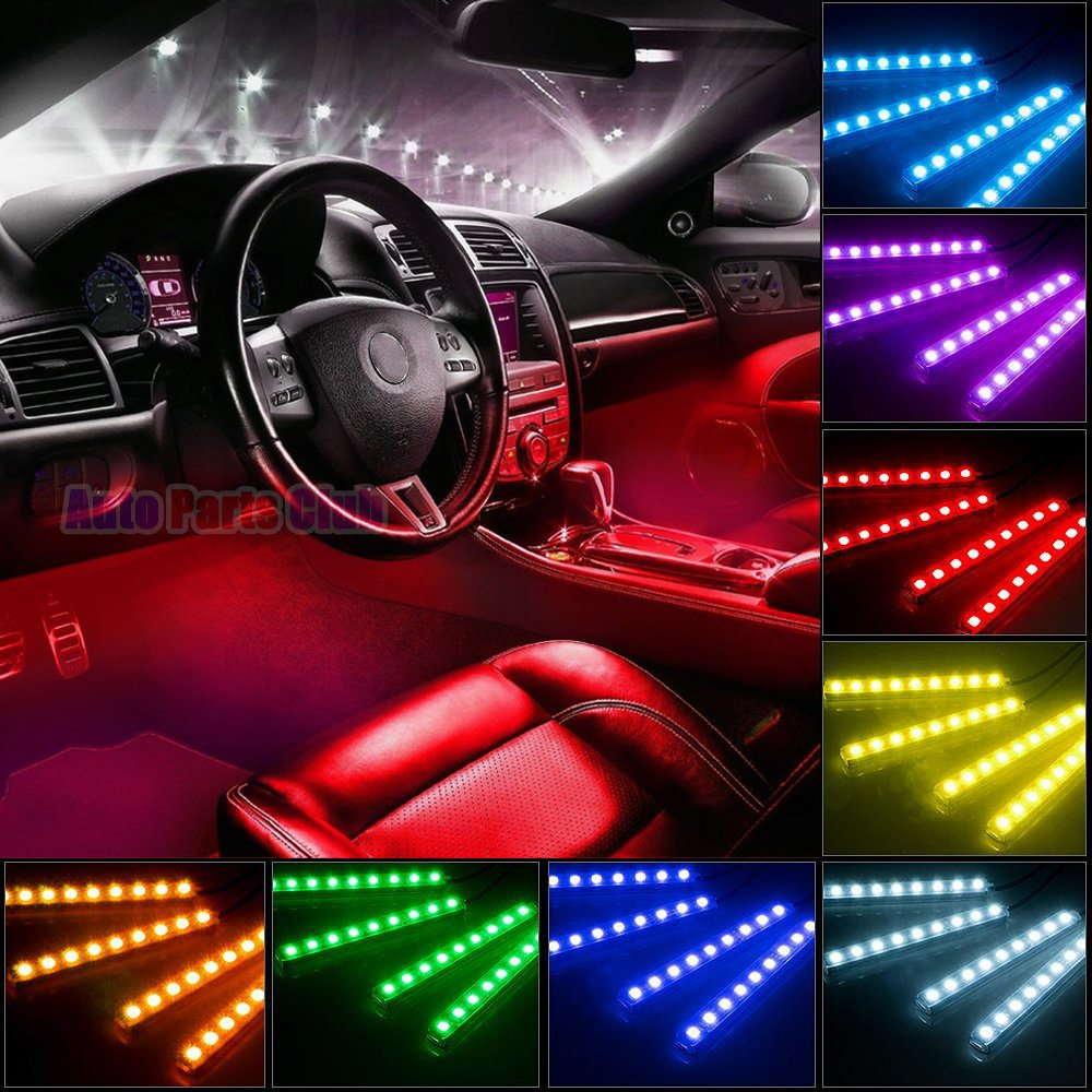 Car LED Strip Light, Auto Parts Club 4pcs 48 LED DC 12V Multicolor Music Car Interior Lights LED Under Dash Lighting Atmosphere Neon Lights Kit with Sound Active Function and Wireless Remote Control