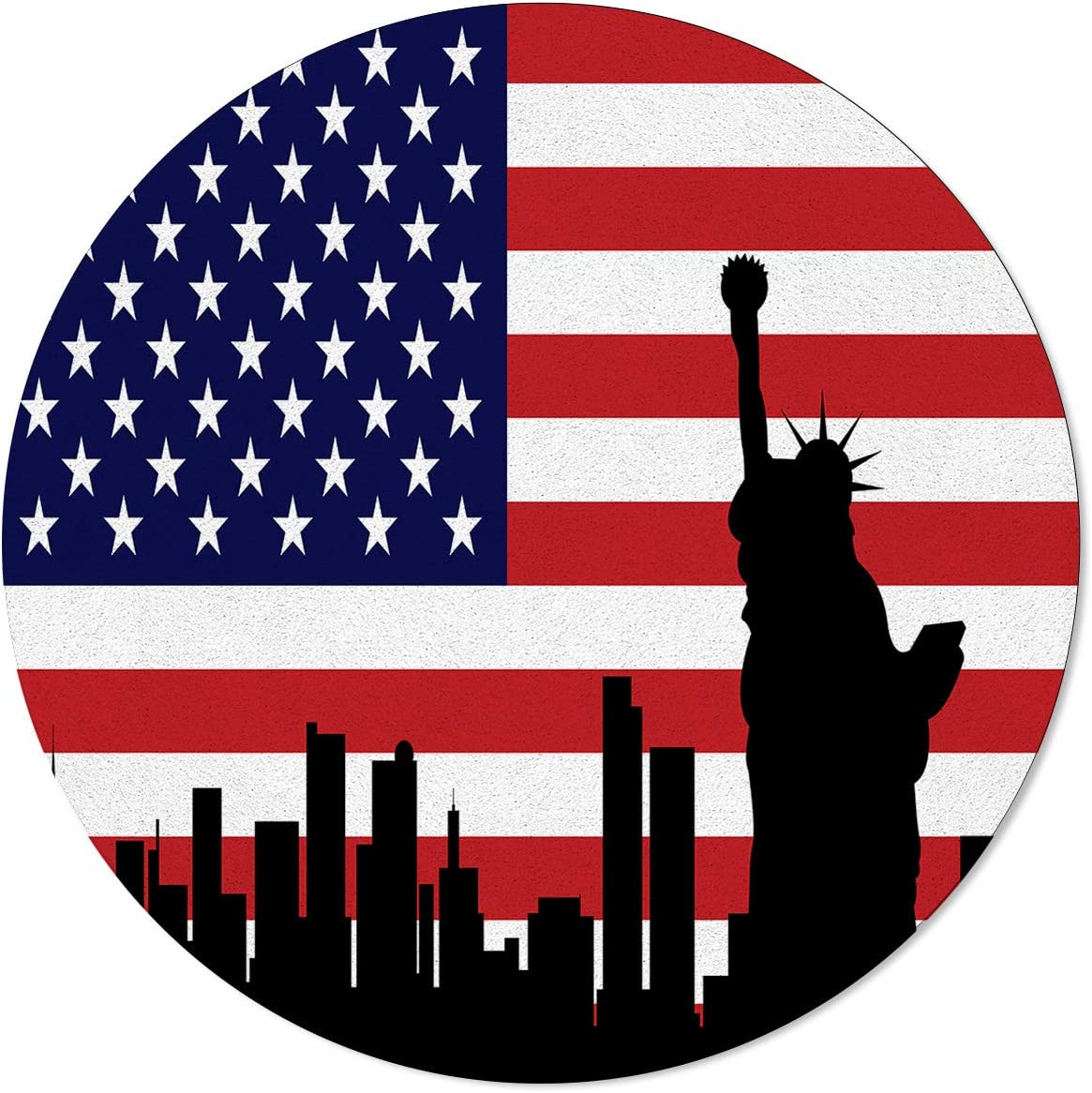 Meet 1998 Round Area Rugs American Flag with New York Cities Outline Non-Slip Home Decor Statue of Liberty Indoor Children Playroom Kitchen Bedroom Living Floor Mats 5ft(60in)
