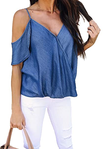 3c1e431baa Amazon.com  Women V Neck Off Shoulder Denim Shirt Tops Sexy Spaghetti Strap  Ruffle Sleeves Blouse  Clothing