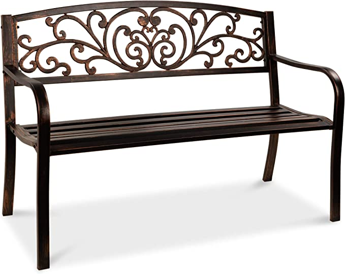 Amazon Com Best Choice Products 50in Steel Garden Bench For Outdoor Park Yard Patio Furniture Chair W Floral Design Backrest Slatted Seat Brown Garden Outdoor