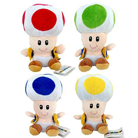 Super Mario Bros Toad Red Yellow Blue Green Mushroom Kingdom Plush Soft Toy 6 Pack Of 4